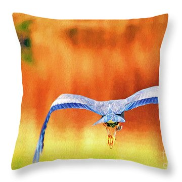 Throw Pillow featuring the digital art Great Blue Heron Winging It Photo Art by Sharon Talson