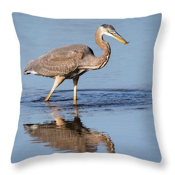 Throw Pillow featuring the photograph Great Blue Heron With A Small Meal by Ricky L Jones