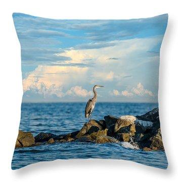 Great Blue Heron World Throw Pillow