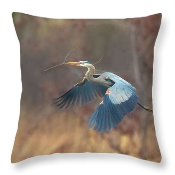 Great Blue Throw Pillow by Kelly Marquardt