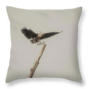 Throw Pillow featuring the photograph Great Blue Landing by David Bearden
