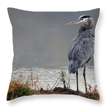 Great Blue Heron Landscape Throw Pillow