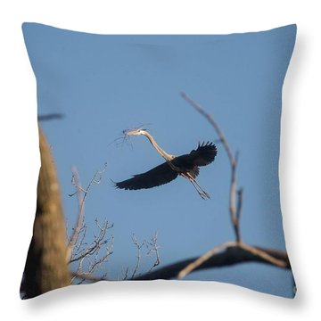 Throw Pillow featuring the photograph Great Blues Nesting by David Bearden