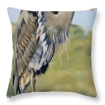 Great Blue Heron Standing Throw Pillow