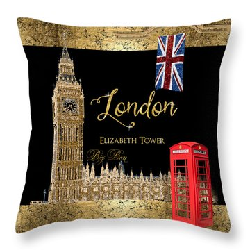 Great Cities London - Big Ben British Phone Booth Throw Pillow by Audrey Jeanne Roberts