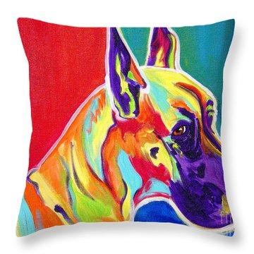 Great Dane - Rainbow Dane Throw Pillow by Alicia VanNoy Call