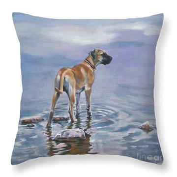 Great Dane Throw Pillow by Lee Ann Shepard