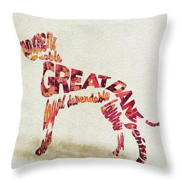 Throw Pillow featuring the painting Great Dane Watercolor Painting / Typographic Art by Ayse and Deniz