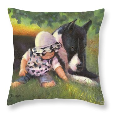 Throw Pillow featuring the painting Great Dane With Baby by Nancy Lee Moran
