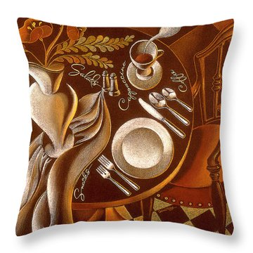 Throw Pillow featuring the painting Great Dining by Leon Zernitsky