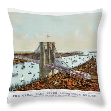 Great East River Suspension Bridge 1892 Throw Pillow
