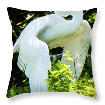 Great Egret Stretching Throw Pillow