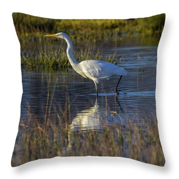 Great Egret, Ardea Alba, In A Pond Throw Pillow