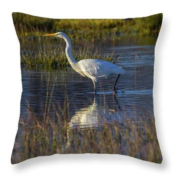 Great Egret, Ardea Alba, In A Pond Throw Pillow by Elenarts - Elena Duvernay photo