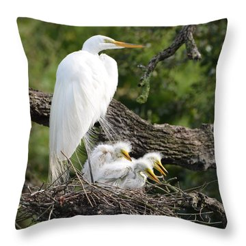 Great Egret Family  Throw Pillow