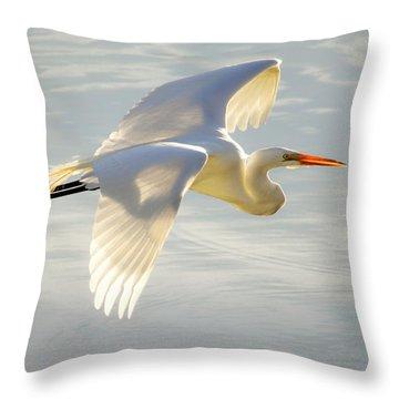 Great Egret Glow Throw Pillow