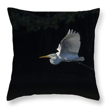 Great Egret In Morning Flight Throw Pillow