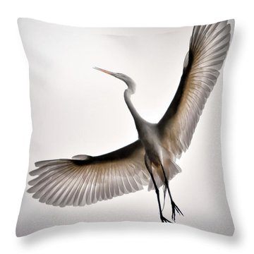 Great Egret Majesty Throw Pillow