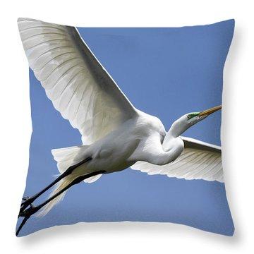 Great Egret Soaring Throw Pillow