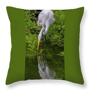 Great Egret With Its Reflection Throw Pillow