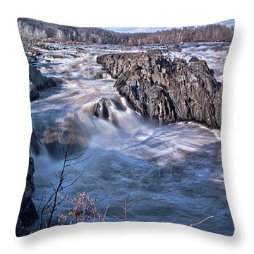 Throw Pillow featuring the photograph Great Falls Virginia by Suzanne Stout