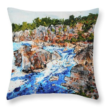 Great Falls Waterfall 201745 Throw Pillow by Alyse Radenovic