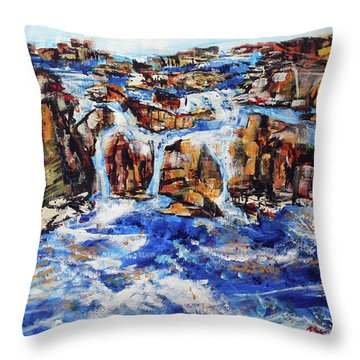 Great Falls Waterfall 201753 Throw Pillow by Alyse Radenovic