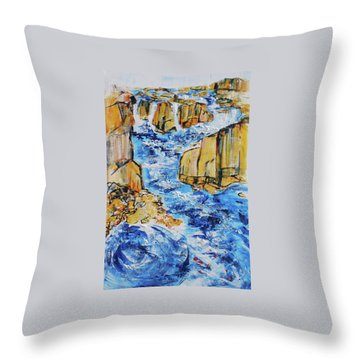 Great Falls Waterfall 201754 Throw Pillow by Alyse Radenovic