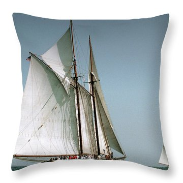 Great Gloucester Schooner Race Throw Pillow