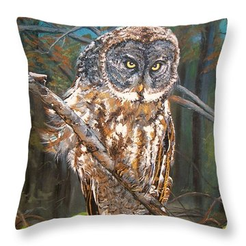 Throw Pillow featuring the painting Great Grey Owl 2 by Sharon Duguay