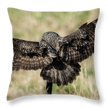 Great Grey's Back Throw Pillow by Torbjorn Swenelius
