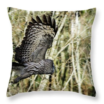 Great Grey's Flight Throw Pillow by Torbjorn Swenelius