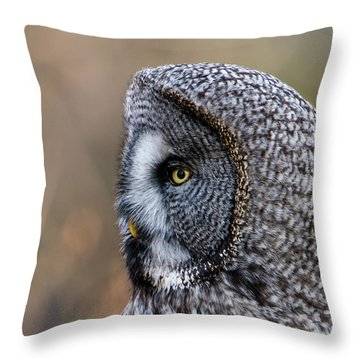 Great Grey's Profile A Closeup Throw Pillow by Torbjorn Swenelius