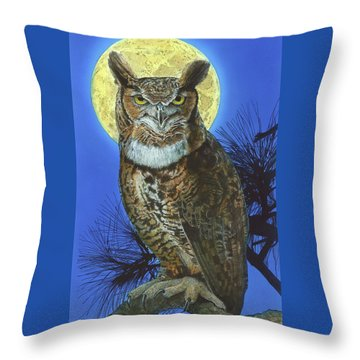 Throw Pillow featuring the painting Great Horned Owl 2 by John Dyess