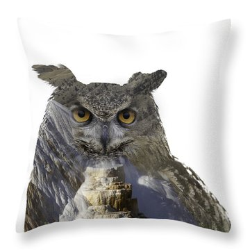 Great Horned Owl And Mammoth Hot Springs Throw Pillow