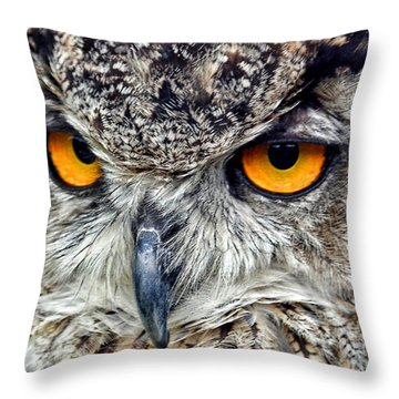 Great Horned Owl Closeup Throw Pillow
