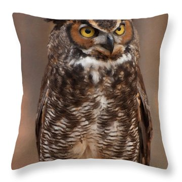 Throw Pillow featuring the digital art Great Horned Owl Digital Oil by Chris Flees