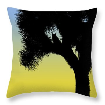 Great Horned Owl In A Joshua Tree Silhouette At Sunrise Throw Pillow