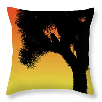 Great Horned Owl In A Joshua Tree Silhouette At Sunset Throw Pillow