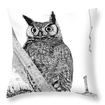 Great Horned Owl In A Tamarisk Throw Pillow