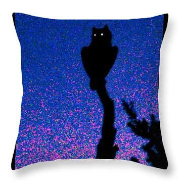Great Horned Owl In The Desert Throw Pillow