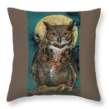 Throw Pillow featuring the painting Great Horned Owl by John Dyess
