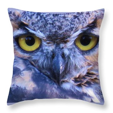 Throw Pillow featuring the photograph Great Horned Owl Macro by Michele Penner