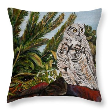 Throw Pillow featuring the painting Great Horned Owl - Owl On The Rocks by Marilyn  McNish