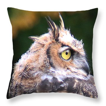 Throw Pillow featuring the photograph Great Horned Owl Portrait by William Selander