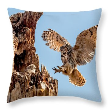 Great Horned Owl Returning To Her Nest Throw Pillow