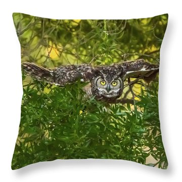 Great Horned Owl Take Off Throw Pillow by Marc Crumpler