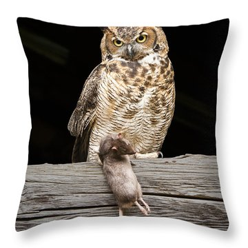 Great Horned Owl With Dinner Throw Pillow