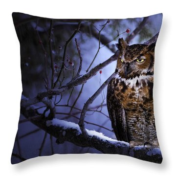 Great Horned Throw Pillow by Ron Jones