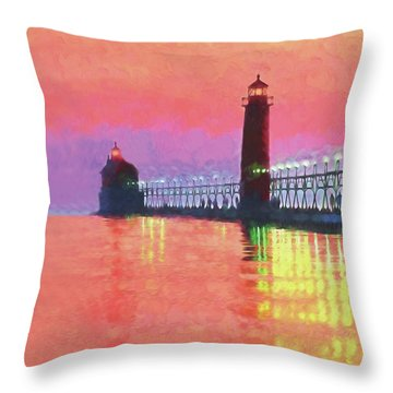 Great Lakes Light Throw Pillow by Dennis Cox WorldViews
